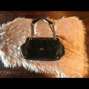 Audrey Brooke Black Suede and Leather Purse